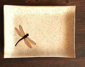 Ceramic DRAGONFLY Soap Dish - Handmade Off-White Stoneware Dragonfly Insect Soap Dish - Multipurpose Dish - Ready To Ship