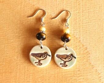 Ceramic SANDPIPER Earrings - Handmade Porcelain Seashore Bird Beaded Earrings - Dangle Earrings - Ready To Ship