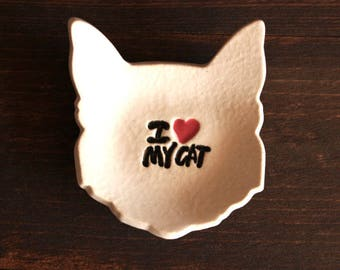 Ceramic CAT Ring Dish - White Stoneware Ring Dish / Tea Bag Holder - I Heart My Cat Dish - Ready To Ship