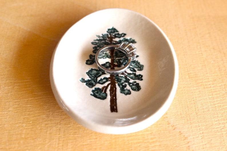 Handmade Porcelain Ponderosa Pine Tree Ring Dish Ceramic PINE TREE Ring Dish Ready To Ship