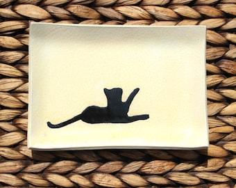 Ceramic CAT Dish - Handmade CREAM Black CAT Silhouette Soap Dish - Multipurpose Dish - Ready To Ship
