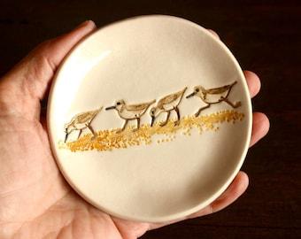 Ceramic SANDPIPER Ring Dish - Handmade Porcelain SANDPIPERS Seashore Bird Jewelry Dish - Soap Dish - Ready To Ship