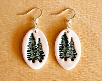Ceramic PINE TREE Earrings - Handmade Porcelain Pine Tree Jewelry - Ready To Ship