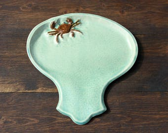 Ceramic CRAB Spoon Rest - Handmade Turquoise Porcelain CRAB Crustacean Spoon Rest - Kitchen Utensil Holder - Ready To Ship