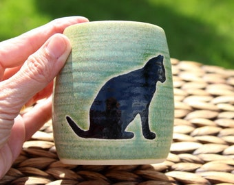 Ceramic CAT Cup - Handmade Green Stoneware CAT Pencil Cup - Toothbrush Holder - Cat Silhouette - Ready To Ship