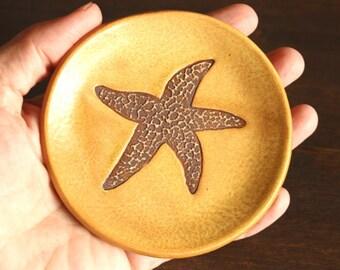 Ceramic STARFISH Ring Dish - Handmade Stoneware Textured Starfish Jewelry Dish - Multipurpose Dish - Ready To Ship