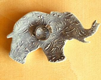 Ceramic ELEPHANT Ring Dish - Cute Handmade Gray Porcelain Textured Elephant Pachyderm Ring Dish - Ready To Ship