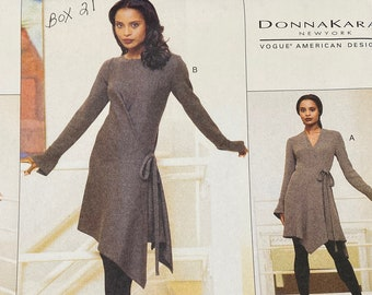 UNCUT sizes 8 to 14 Donna Karan sewing pattern for top and pants Vogue 1039 Vogue American Designer bust 31.5 to 36