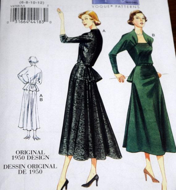 Vogue Vintage-Modell V8768 Repro 1950 Schnittmuster Misses | Etsy