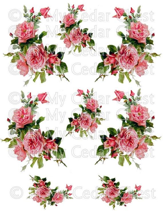 Instant Digital Download Cottage Cabbage Pink Roses Vintage Etsy