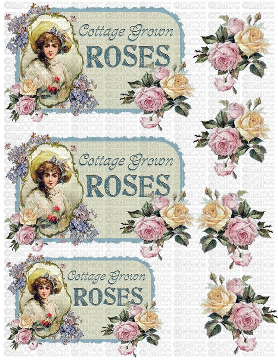 Digital Download Graphics Corset Yellow Pink Cottage Roses Etsy