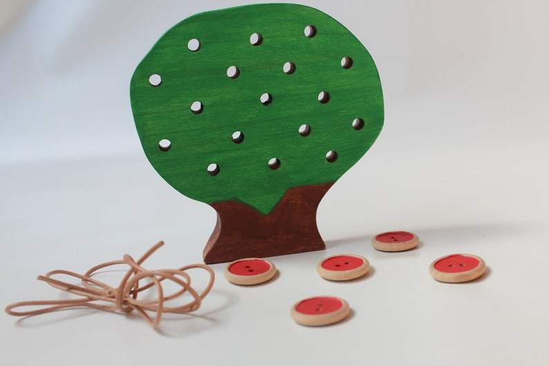 Lacing Friends Montessori Waldorf inspired Fine Motor Skills Toy The Apple Doesn/'t Fall Far From the Lacing Tree