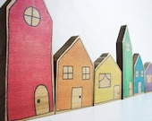 Rainbow Village Blocks - A Stacking, Building, and Pretend Play Learning Toy - Waldorf and Montessori Inspired