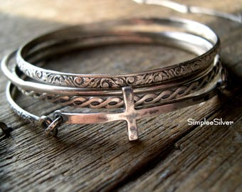 Sterling Silver Bangle Bracelets  -  Sideways Cross Bangle Bracelet  -  Multiple Bangle Bracelets  -  Layering Bracelets  -  Handmade Jewelr