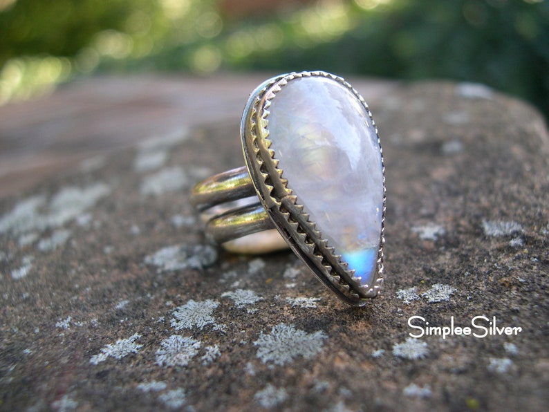 Gemstone Ring Moonstone Ring Artisan Jewelry Cocktail Ring Ring Teardrop Shaped Ring Sterling Silver Ring