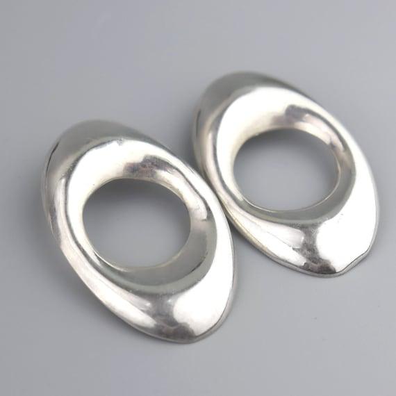 Vintage Mexican Modernist BIG Hoop Earrings, Taxco