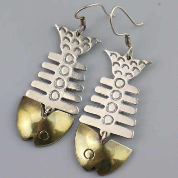 Vintage Mixed Metal Fish Bone Earrings, Laton, Ste