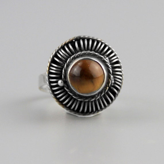 Mexican Sterling Ring, Posion Ring, Tigers Eye Rin