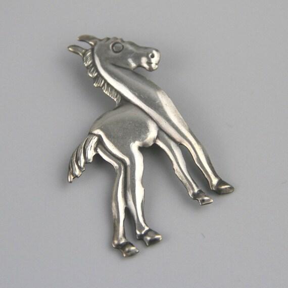 Vintage Sterling Horse Pin, Sterling Horse Brooch,