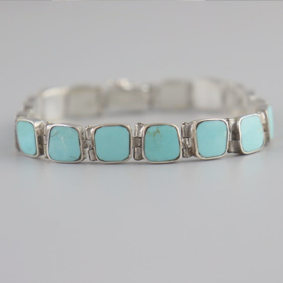 Vintage Turquoise 950 Sterling Silver Chile Handma