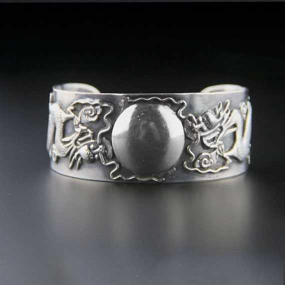 Sterling Silver Dragon Cuff, Chinese Export, Sterl