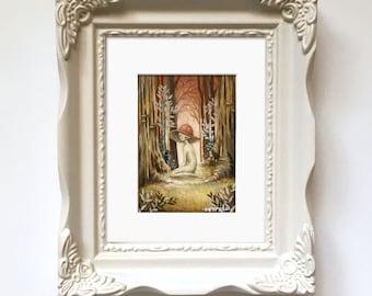 Pfifferling Baby / / Original Gemälde / / Pilz, Mädchen, Wald, Wald-Kunst, Pilz, anthropomorphen, Wald, Wunderlich, Niedlich, Herbst