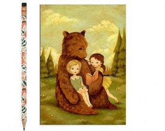Book Lover Postcard, Bookworm Card, Bear, Reading, Pale Red, Yellow, Cream, Children's Art, Girl, Teacher, Cute, Book Lover, Bookworm, Story