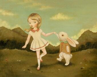 Let's Do The Bunny Jive Print 10x8 - Children's Art, Girl, Bunny, Rabbit, Cream, Pink, Mustard Yellow, Dancing, Forest, Nursery, Cute, Kids