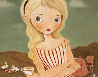 Alice In Wonderland Art - A Tea Party Print 5x7 / 6x8 - Children's Art, Rabbit, Pink, Nursery, Girls Room Art, Decor, Cute, Alice, Bunny