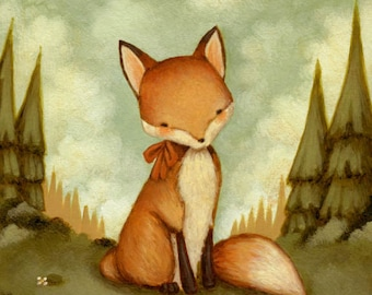 Children's Art - Little Fox In The Woods Print 11x14 - Baby Art, Baby Fox, Fox Print, Fox Art, Kids Art, Fox Art Print, Nursery Art, Fox