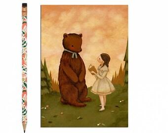 Bear Postcard, Bear Card, Hedgehog, Animal Art, Cute, Girl, Woodland, Forest, Woods, Book, Storytime, Story, Book Lover