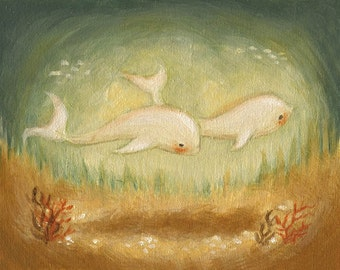 The Dolphins' Stroll Print 10x8 - Children's Art, Nursery Art, Dolphin, Swimming, Nautical Art, Baby, Cute, Kids, Corals, Baby Animal, Ocean