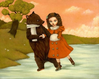 A Winter Stroll 10x8 Print - Children's Art, Bear, Girl, Kids, Nursery Art, Cute, Whimsical, Lake, Peach, Pink, Red, Ice Skating, Forest