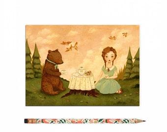 Bear Postcard, Bear Card, Hedgehog, Animal Art, Cute, Girl, Picnic, Tea Time, Woodland, Forest, Woods, Pink