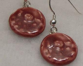 Deep Pink Floral Porcelain Earrings