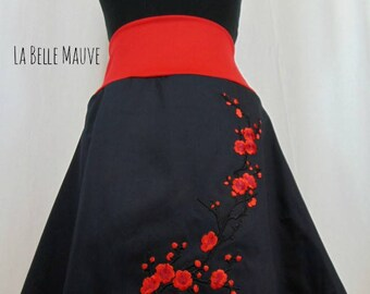 Sakura skirt red and black