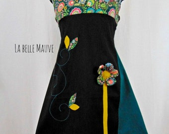Black and green floral Kyriu dress