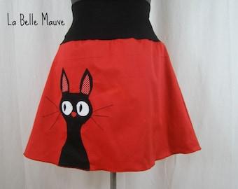 Sadako red skirt black cat
