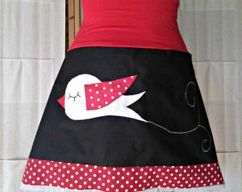 Red and black skirt with bird