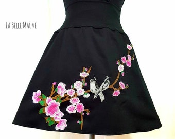 Black and pink cherry blossom skirt