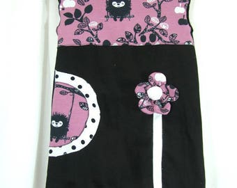 Black and purple Iris and embossed flower dress