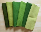 Green Wool Fabric Bundle Hand Dyed and Felted Wool Fabric Number 2747 Perfect for Rug Hooking, Quilting, Wool Applique, and Sewing