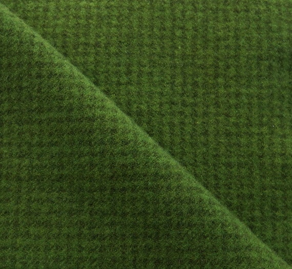Christmas Green Houndstooth Hand Dyed Felted Wool Fabric
