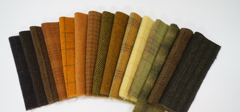Green Hand Dyed Wool Fabric Gold 15 Piece Collection for Primitive Rug Hooking Fall Tones Wool Applique Pumpkin Rust Brown