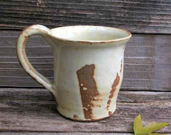 Beautiful Large Rustic Handmade Pottery Mug in Cream and Brown