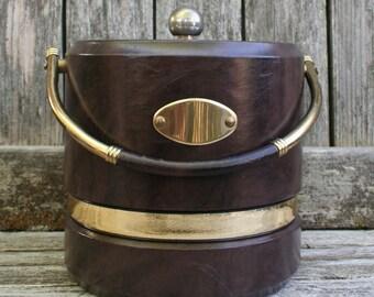 Vintage Shelton Ware Mid Century Dark Brown Vinyl Ice Bucket