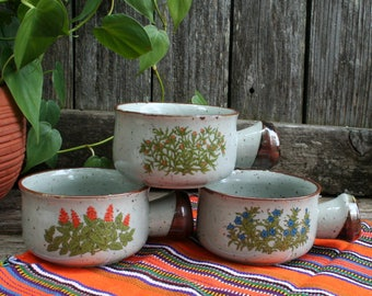 Takahashi Floral Speckled Brown Stoneware Soup Bowls with Handles / 1970s / Set of Three