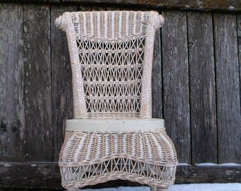 Adorable and Sweet Child's Wicker Chair / White and Natural Color