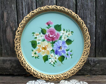 Beautiful Hand Painted Toleware Round Serving Tray With Painted With Gold Cutout Rim
