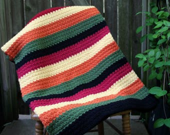 Beautiful Handmade, Hand Crocheted Colorful Striped Afghan - New